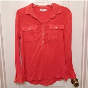 Madewell Coral Long Sleeve Henley